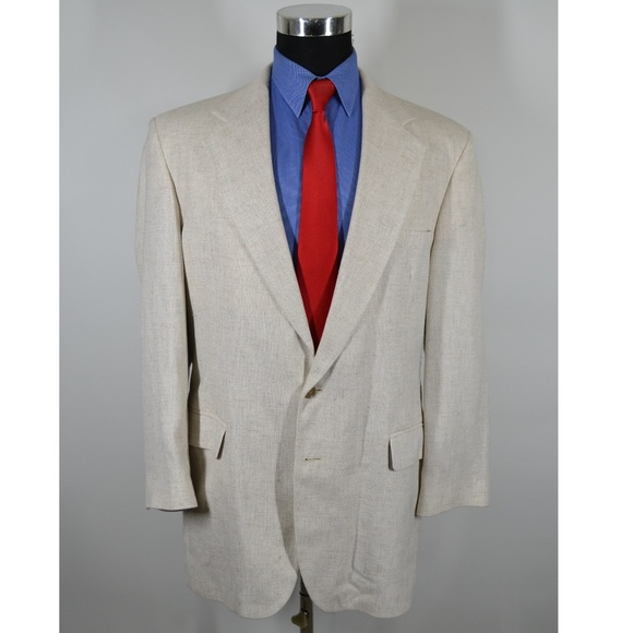 Haggar Other - Haggar 42L Sport Coat Blazer Suit Jacket Cream Pol